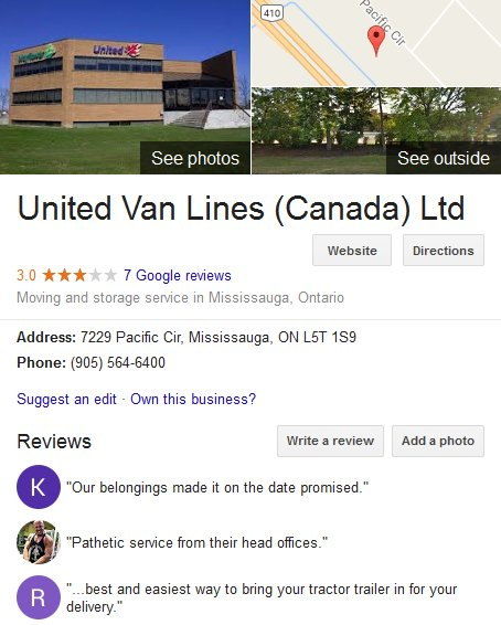 United Van Lines – Canada Location and moving reviews