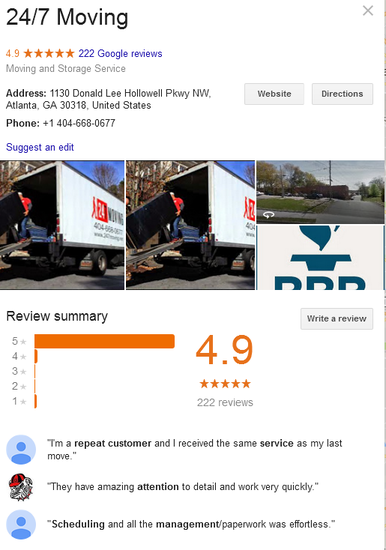 24/7 Moving – Location and reviews