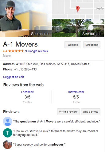 A-1 Movers – Location