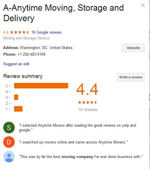 A Anytime Moving and Storage – Location and reviews