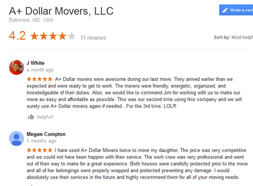 A+ Dollar Movers – Moving reviews
