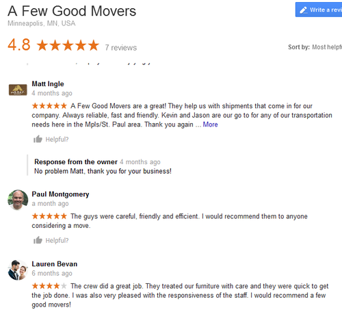 A Few Good Movers – Moving reviews
