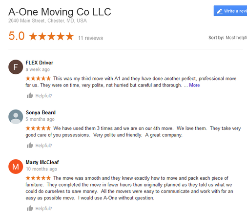 A-One Moving Company – Moving reviews