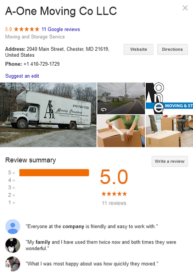 A-One Moving Company – Location