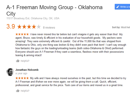 A1 Freeman Moving Group – Moving review