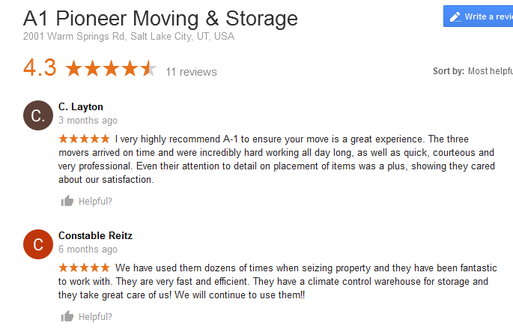 A1 Pioneer Moving and Storage – Moving reviews