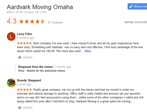 Aardvark Moving - Moving reviews