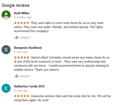 Aarons Back Company – Moving reviews