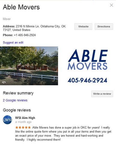Able Movers – Location