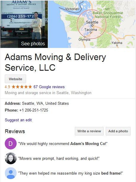 Adams Moving and Delivery – Location and reviews