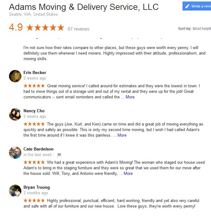 Adams Moving and Delivery – Moving reviews