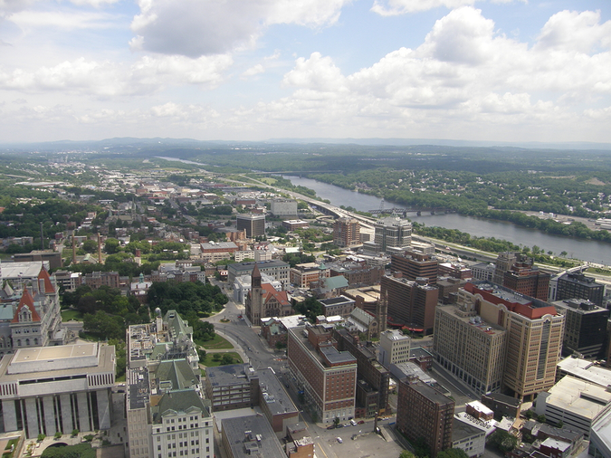 Aerial view of Albany, NY- Ideal moving choice to live and work