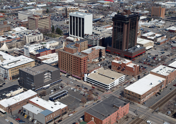 Aerial view of Billings, Montana, rapidly growing city in the region