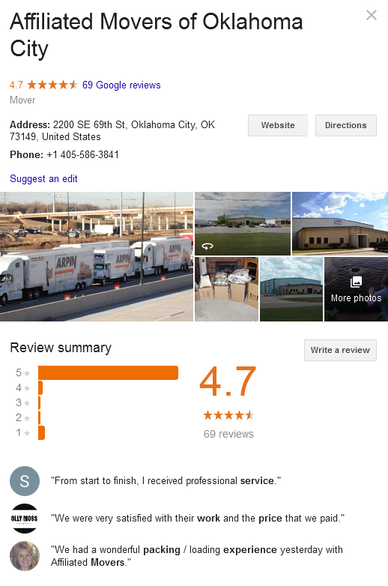Affiliated Movers of Oklahoma City– Location