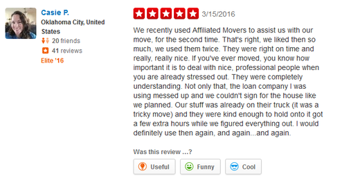 Affiliated Movers of Oklahoma City – Moving review