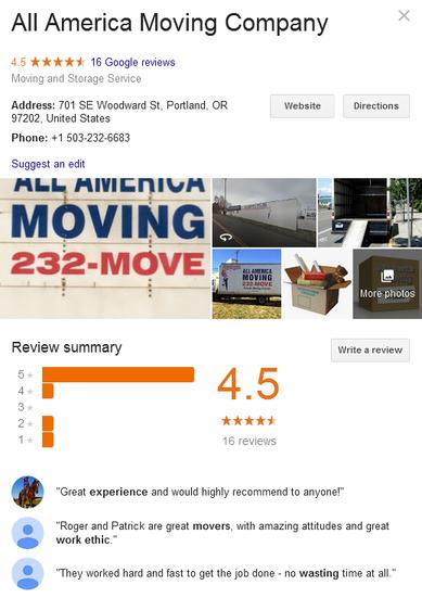 All America Moving Company – Location