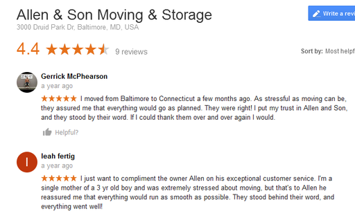 Allen and Son Moving and Storage – Moving reviews