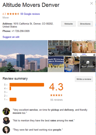 Altitude Movers Denver – Location and reviews