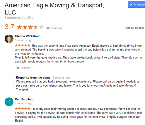 American Eagle Moving and Transport – Moving reviews