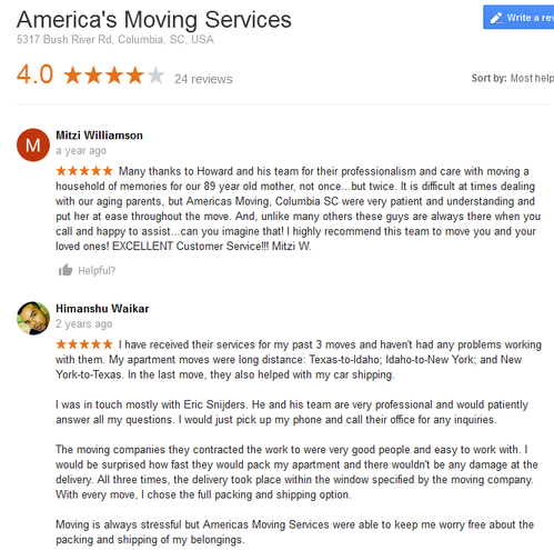 America's Moving Services – Location