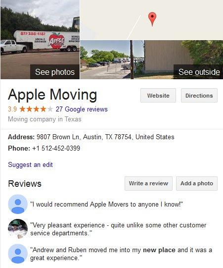 Apple Moving LLC – Location