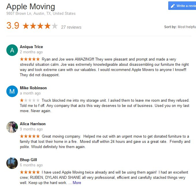 Apple Moving LLC – Moving reviews