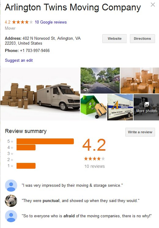 Arlington Twins Moving Company – Location