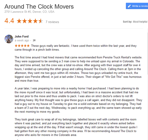 Around the Clock Movers – Moving review