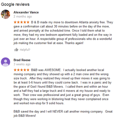 B & B Movers – Moving reviews