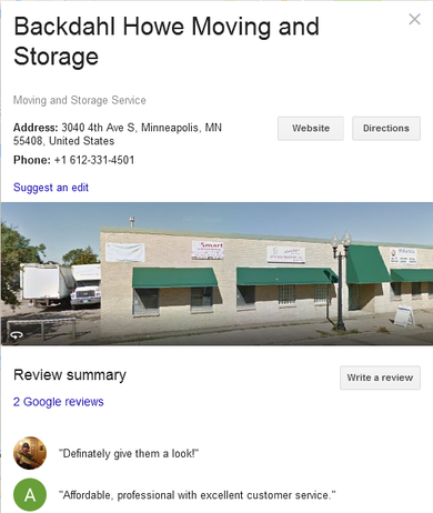 Backdahl Howe Moving and Storage – Location