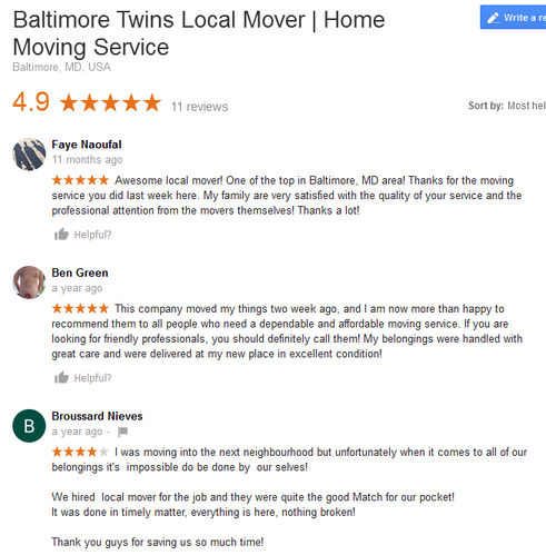 Baltimore Twins Movers – Moving reviews