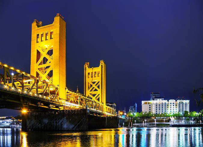 Beautiful Golden Gates Drawbridge in Sacramento on a fine evening
