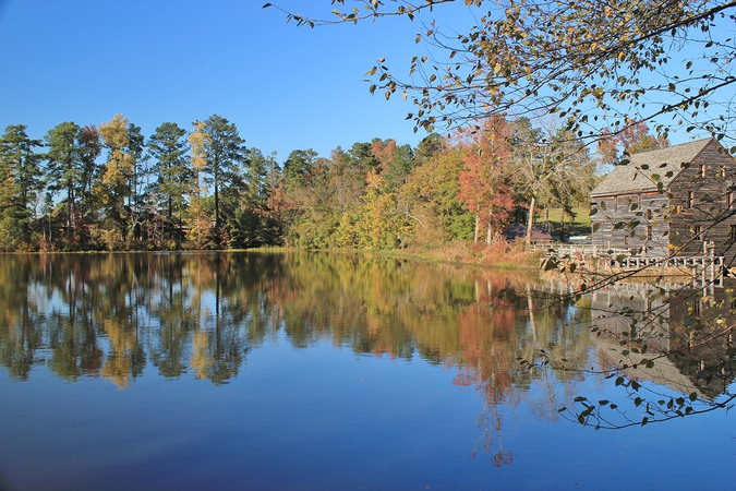 Beautiful autumn by the lake in historic Yates Mill Park