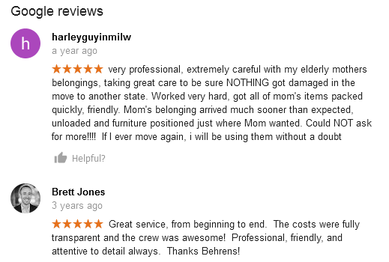 Behrens Moving Company – Moving reviews