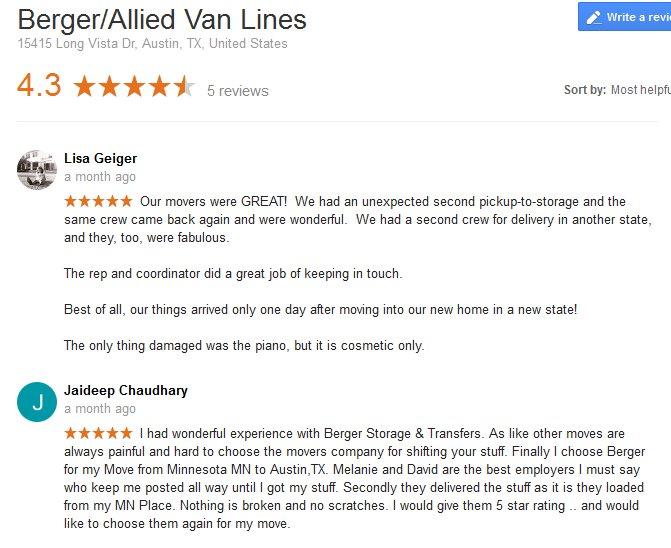 Berger Allied Van Lines – Moving reviews