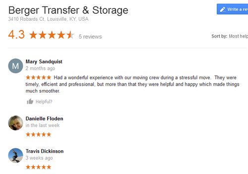 Berger Transfer and Storage – Moving reviews