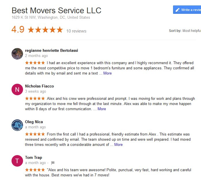 Best Movers Service LLC – Moving reviews