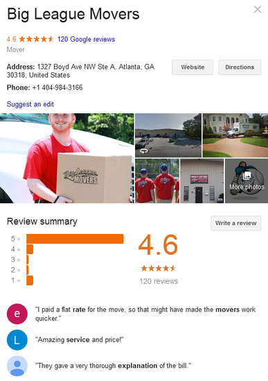 Big League Movers – Location and reviews