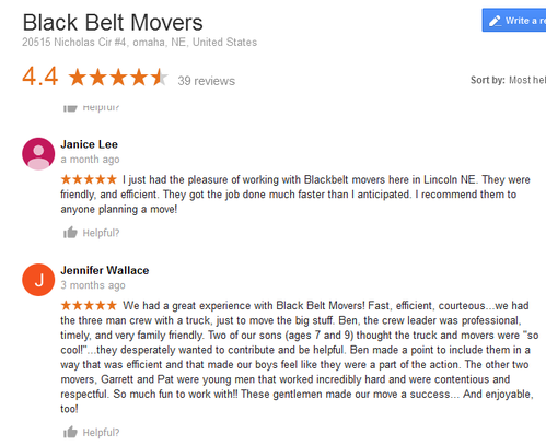 Black Belt Movers - Moving reviews