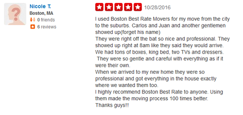 Boston Best Rate Movers - Moving review