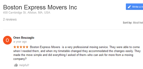 Boston Express Movers - Moving review