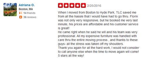 Boston TLC Moving Company - Moving review