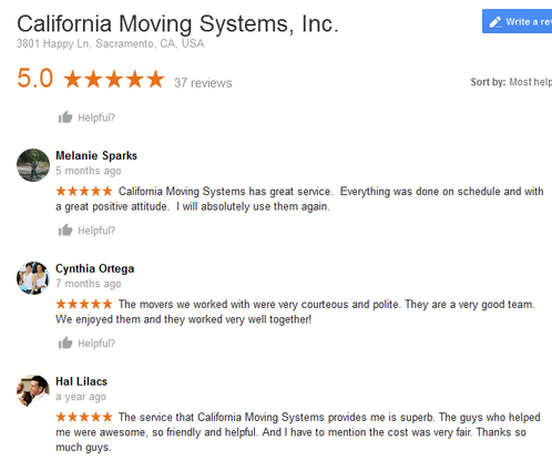 California Moving Systems – Moving reviews