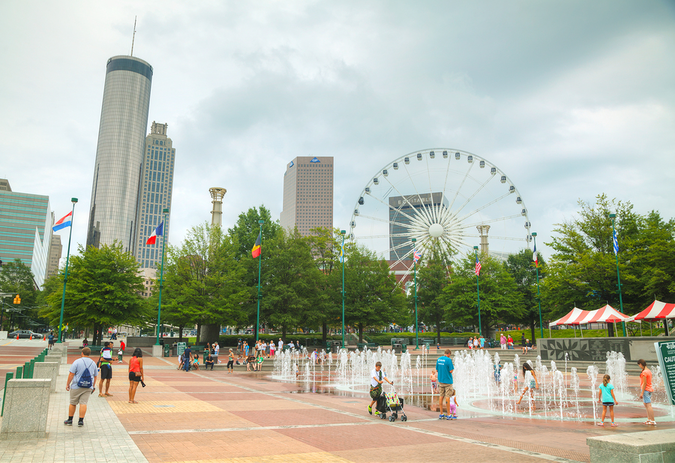 Centennial Park in Atlanta – One of many huge attractions for Atlanta newcomers and residents