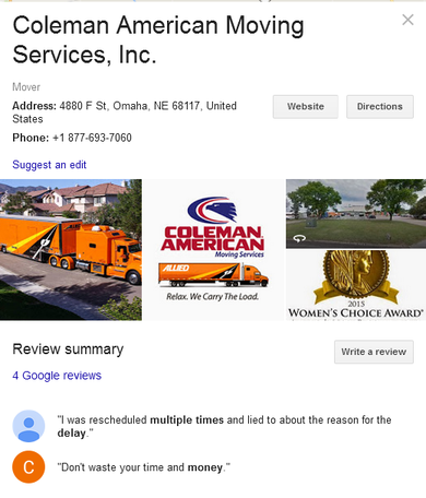 Coleman American Moving Services - Location