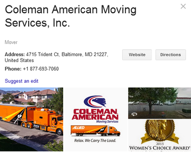 Coleman American Moving Services – Location