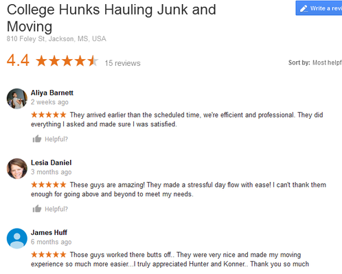 College Hunks Hauling Junk and Moving – Moving reviews