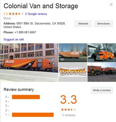 Colonial Van Lines - Location