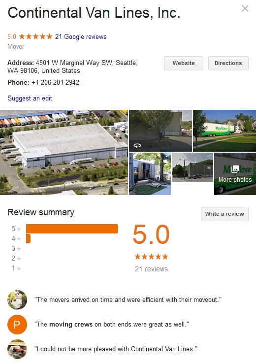 Continental Van Lines – Location and reviews