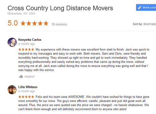 Cross Country Long Distance Movers – Moving reviews